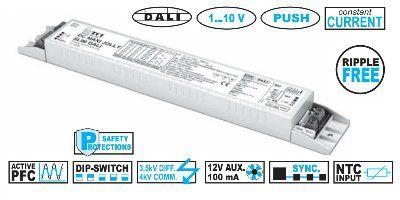 Драйвер (блок питания) 122692 DC MAXI JOLLY SLIM DALI 1-10V PUSH универсальный, 0,7-60W, 350-1050mA, диммируемый по DALI, 1-10 V, PUSH, для LED источников света (светодиодных светильников). TCI, Италия.