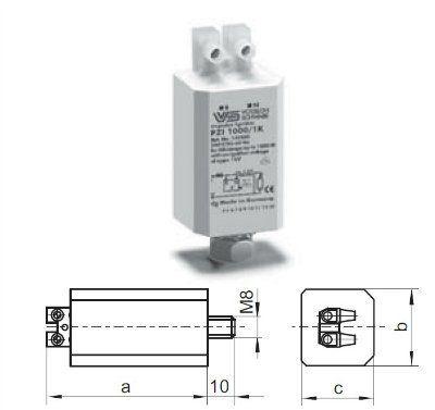 Блоки зажигающих устройств (БЗУ) PZI 1000/1K 140617 для натриевых ламп высокого давления (HS) 250-1000W. Vossloh-Schwabe, Германия
