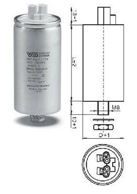 Конденсатор компенсирующий 45 mF (мкФ) 250V 536406, корпус алюминий, подсоединение Wago, DxH 40X135 мм. Vossloh Schwabe (Германия)