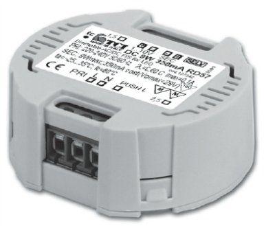 Драйвер (блок питания) 127342 DC 9W 350mA RD57 диммируемый по протоколам 1...10 V или PUSH, 350mA, 0-9W для LED источников света (светодиодных светильников). TCI, Италия.