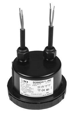 Драйвер (блок питания) 122715RES DC20W24V T - IP68 для LED источников света (светодиодных светильников) 24В, 0-20 Вт. TCI, Италия.