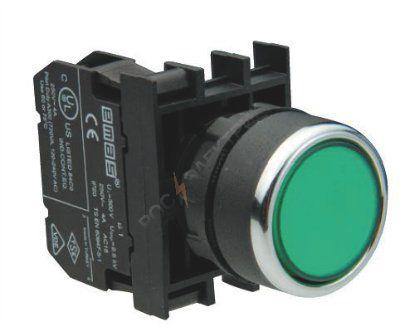Кнопка нажимная зеленая B100DY 22мм 4А 1з без фиксации EMAS