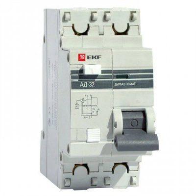 Дифференциальный автомат АД-32 1P+N 63А/30мА (хар. C, AC, электронный, защита 270В) 4,5кА EKF PROxim