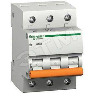 Автоматический выключатель ВА63 трехполюсный 25 A, характеристика С (11225)