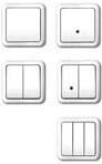 Выключатели рамочной конструкции, одно-, двух-, трехклавишные, со светоиндикатором и без него, светорегуляторы (диммеры)