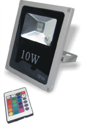 Прожектор 10 Вт RGB светодиодный плоский Мультиколор+пульт ДУ 220V IP65