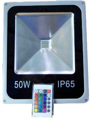 Прожектор 50 Вт RGB с пультом светодиодный IP65 M 1050 RGB-50W