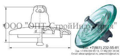 Линейный подвесной стеклянный изолятор ПС-70Е
