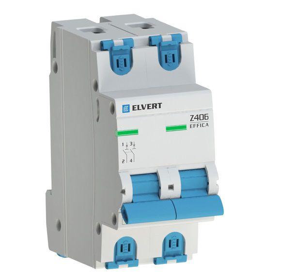 Автоматический выключатель  (ВА) модульный, 2-полюса, Z406 2Р C6, 4,5кА, ELVERT
