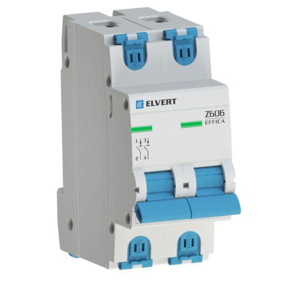 Автоматический выключатель модульный (ВА), 2-полюса, Z606 2Р B10, 6кА, ELVERT