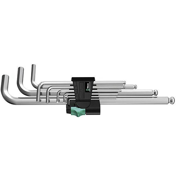 WERA Набор Г-образных шестигранных ключей, метрических, хромированных 9 предметов 950 PKL/9 SM N WERA WE-022087