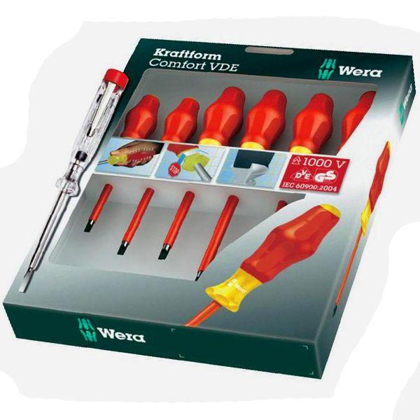 WERA Набор отверток 1160 i/1165 i/7 Kraftform Comfort VDE + индикатор напряжения WERA WE-031576