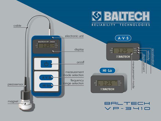 Виброметр (виброперемещение, виброскорость, виброускорение) - BALTECH VP-3410