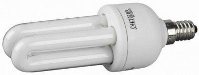 Энергосберегающая лампа СВЕТОЗАР, цоколь E14(миньон), теплый белый свет (2700 К),6000 часов, 9 Вт
