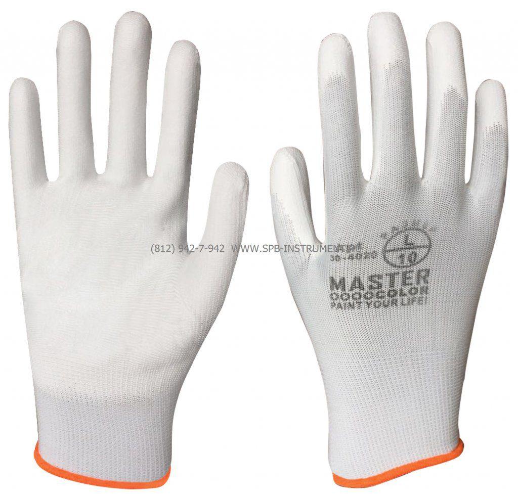 MASTER COLOR Перчатки белые, полиэстер с обивкой из полиуретана ( водоотталкивающие), артикул 30-4020