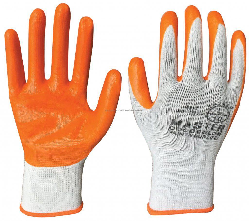 MASTER COLOR Перчатки белые, полиэстер с обивкой из нитрила( кислото-щелочно стойкие), арт. 30-4010