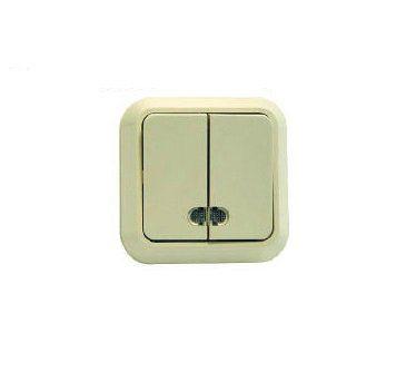 EL-BI Zirve крем. Выключатель 2 кл. СП с подсв. 501-0303-203