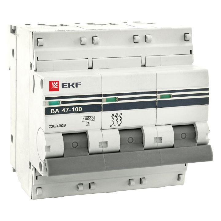 Авт. выкл. 3P 50А (D) 10kA ВА 47-100 EKF
