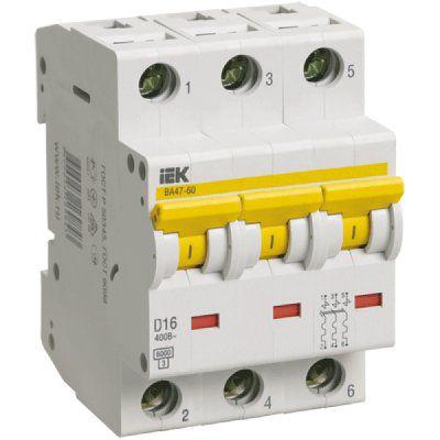 Автоматический выключатель ВА47-60 3P 25А D 6кА 3-х полюсный IEK ИЭК
