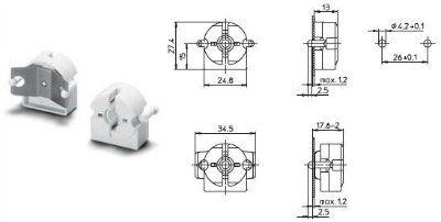 Патрон G13 торцевой 47105 101685, для ламп T8 и Т12. Vossloh-Schwabe (Германия), (Аналог BJB: 26.422.1013.50)