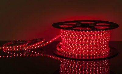 Лента светодиодная 220V 4,4W 60Led 3528 IP65 красный, 100 м