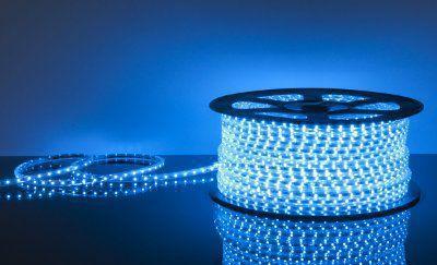 Лента светодиодная 220V 4,4W 60Led 3528 IP65 синий, 100 м