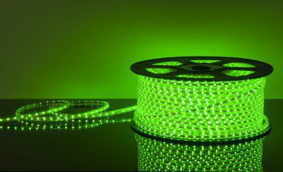 Лента светодиодная 220V 4,4W 60Led 3528 IP65 зеленый, 100 м