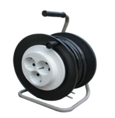 Удлинитель на малой пластиковой катушке и стойке, 3 розетки Евро 220В, 2200 Вт, провод ПВС 3х0,75, 25 метров, УХ-02