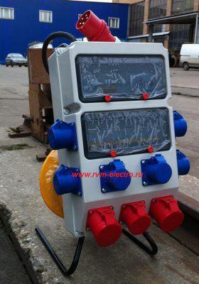 Удлинитель с блоком защиты и распределения 380 В 20 метров КГ 5*6 21 кВт