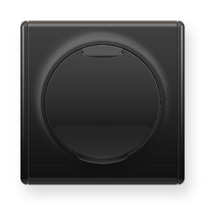 Черная розетка с крышкой с заземлением E10501303