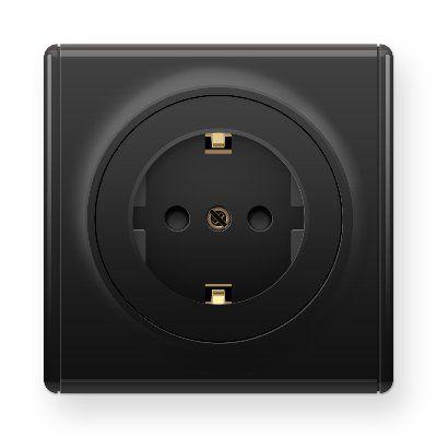 Черная розетка с заземлением с защитными шторками E10101303