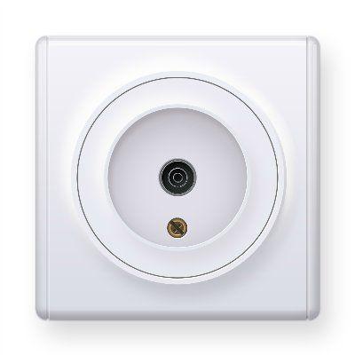 Белая розетка антенная TV E21101300