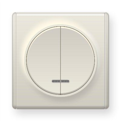 Бежевый выключатель двойной с подсветкой E31801301