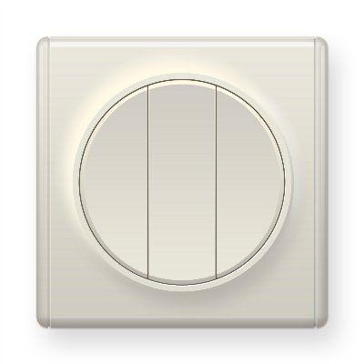 Бежевый выключатель тройной E31901301