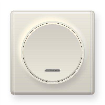 Бежевый выключатель одинарный с подсветкой E31701301