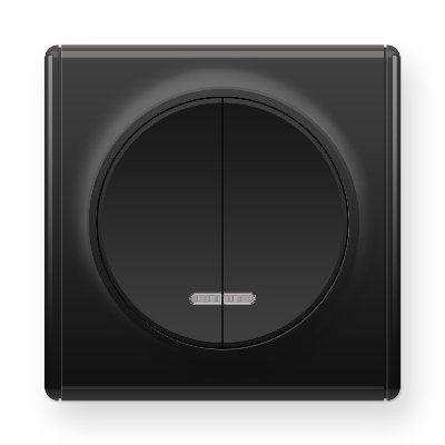 Черный выключатель двойной с подсветкой E31801303
