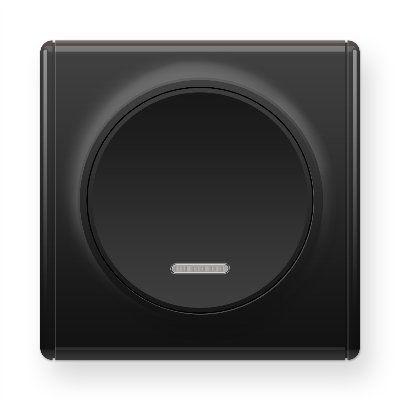 Черный выключатель одинарный с подсветкой E31701303