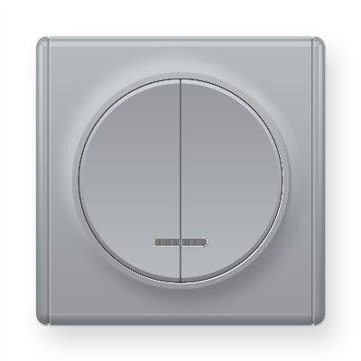 Серый выключатель двойной с подсветкой E31801302