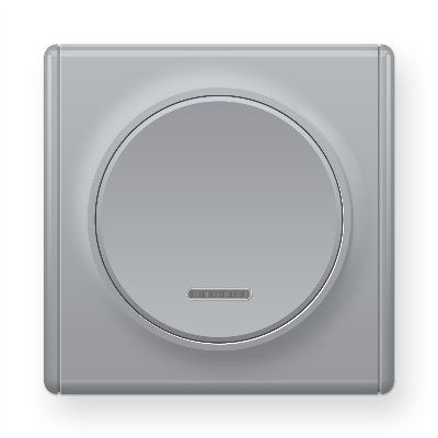 Серый выключатель одинарный с подсветкой E31701302