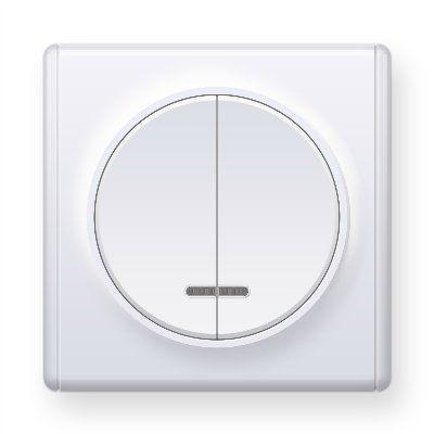 Белый выключатель двойной с подсветкой E31801300
