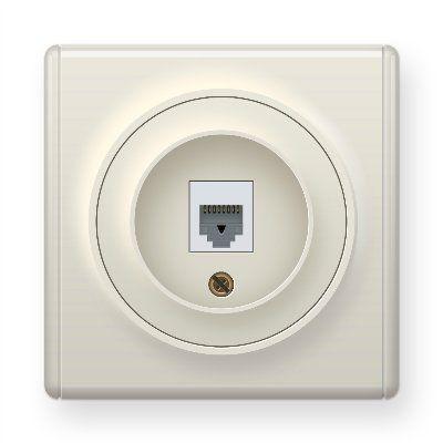 Розетка компьютерная 1xRJ45 кат.5e, цвет бежевый E20701301