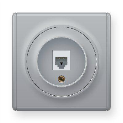 Розетка компьютерная 1xRJ45 кат.5e, цвет серый E20701302