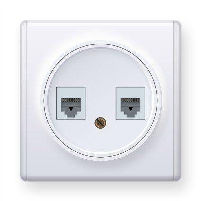 Розетка двойная телефон/компьютер RJ11/RJ45 кат.5e, цвет белый E20801300
