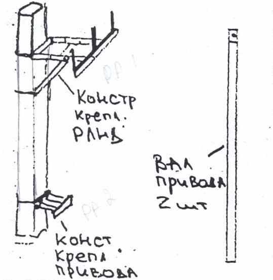 Конструкция крепления РЛНД с трубами