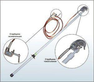 Заземление переносное для изолированного от опор грозозащитного троса. ЗПТ-500 сечение проводника 16 кв. мм.
