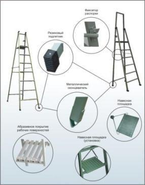 Стремянка стеклопластиковая ССП-1,5, высота опорной площадки 1,0 м