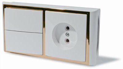 Блок: выключатель двухклавишный + розетка, скрытой установки, цвет белый с рамкой под золото и под серебро.