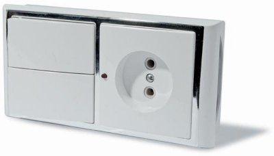 Блок: выключатель двухклавишный + розетка, с подсветкой, скрытой установки, белый с рамкой под серебро.