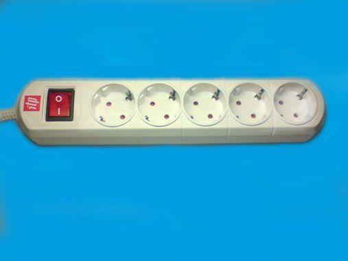 Удлинитель ITP U 05k (3x1,5), 5 розеток, с кнопкой, 16А, шторки