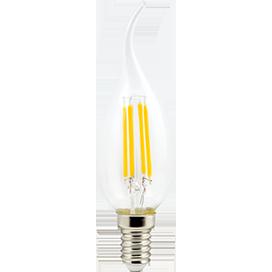 Светодиодная лампа свеча нитевидная 5W E14 2700K 360° filament прозрачная на ветру 125х37